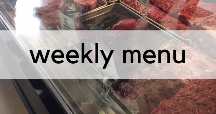 Weekly Menu:  3/25/2019