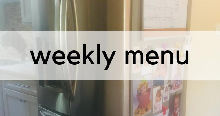 Weekly Menu:  5/20/2019