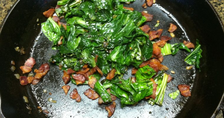 Bok Choy with Bacon and Onions